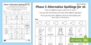 Please note this set does not include the alternative pronunciations that are taught in phase 5. Phase 5 Color By Spelling Sh Teacher Made