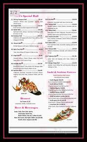 menu of sakura sushi and grill in