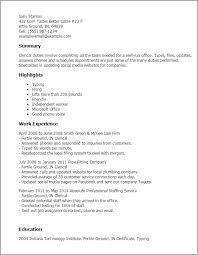 Clerical Resume Templates Stunning Clerical Resume Template Free Professional Resume Templates