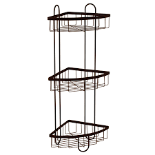 style selections 25 51 in h steel oil rubbed bronze floor freestanding shower caddy