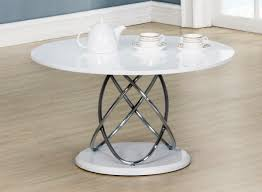 eclipse white high gloss coffee table chrome with glass base 800w round x 450h