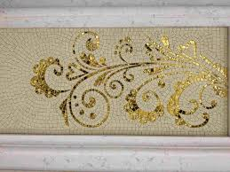 Art Decor Designs Stone and gold glass mosaic art design for wall decoration ℳosαic 62