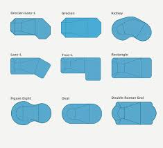 Common swimming pool shapes - True-L, Rectangle pool, oval etc.