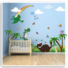 on dinosaur bedroom wall stickers with dinosaur owl bird flower tree monkey bedroom printed vinyl sticker