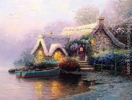 lochaven cottage painting thomas kinkade lochaven cottage art painting