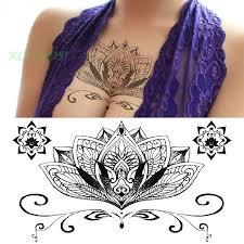 Vodotěsné Dočasné Tattoo Samolepka Lotus Totem Na Prsou Mandala Velké Velikosti Henna Tetování Dámské Flash Tetování Fake Tetování