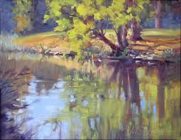 morning reflection plein air landscape oil painting by texas modern impressionist jimmy longacre