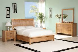 minimal bedroom set natural wood texture style with simple and soft furniture wooden drawes
