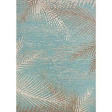 monaco tropical palms aqua 4 ft x 5 ft indoor outdoor area rug