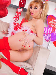 Playful non specific Lexi Belle in peppery stockings removes her.