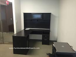 assembled office desks. Bush Furniture L Shaped Office Desk Assembled In Detroit MI For A Company By Assembly Desks K