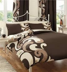 king size duvet cover bed set brown cream funky print quilt cover bedding set
