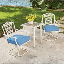 outdoor bistro chair cushions square. hampton bay alveranda 3-piece metal outdoor bistro set with periwinkle cushions chair square