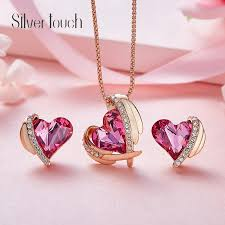 2019 pink angels use swarovski crystal necklace european and american heart shaped earrings set from oriental123 52 27 dhgate com