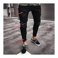 men s skinny jeans hole elastic zipper men s feet pants fashion hiphop slim jeans for men