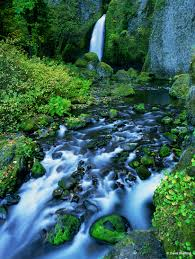 outdoor nature photography. Wahclella Falls In Columbia River Gorge National Scenic Area, Oregon. Outdoor Nature Photography