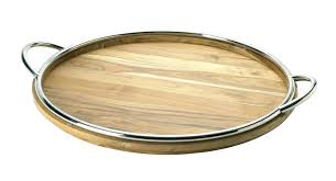 round wooden tray silver rim wood 3 tiered centerpiece large extra trays with rope handl