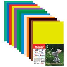Купить <b>Картон цветной</b> А4 немелованный (матовый), 12 листов ...