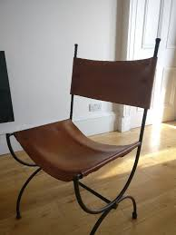 retro vintage charleston forge iron tan saddle leather dining chairs usa