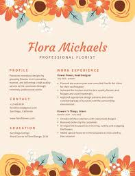 Cream With Floral Border Creative Resume Templates By Canva Best Resume Features