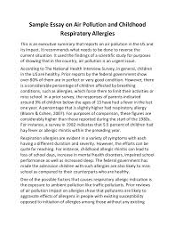 sample essay on air pollution and childhood respiratory allergies