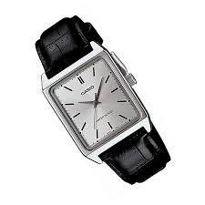 mtp v007l 7eludf silver men s watch with black leather straps