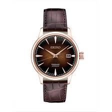 seiko men s presage automatic brown leather strap watch srpb46 double tap to zoom