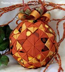 Autumn Patchwork Quilted Ball Fall Decor Quilt Block Ornament ... & Autumn Patchwork Quilted Ball Fall Decor Quilt Block Ornament Adamdwight.com