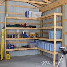 great idea for diy corner shelves to create storage in a garage or pole barn