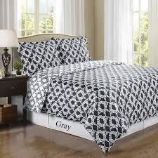 sierra gray white silky soft 100 percent egyptian cotton reversible duvet cover king cal king 3pc