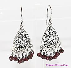 silpada garnet chandelier dangle earrings artisan designer 925 sterling silver lace filigree fan 1 5 inch drop new in box rare retired