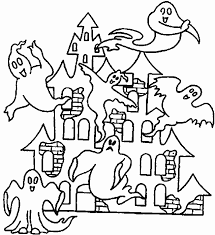 Small Picture Halloween Coloring Pages Printable Scary Haunted House Hallowen