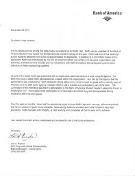 Bank Of America Student Leader Letter Of Recommendation