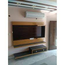 wall mounted wooden led tv unit rs