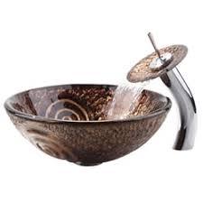 KRAUS Luna Glass Vessel Sink in Brown with Single Hole Single