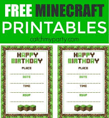 Free Downloadable Birthday Cards Minecraft Invitation Birthday Invitations Free Template Birthday
