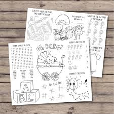 Coloring page baby shark for kids. Baby Shower Coloring Placemat Baby Shower Activity Coloring Etsy In 2020 Baby Shower Activities Baby Shower Decorations For Boys Winter Baby Shower Decorations