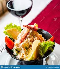 Chilean King Crab salad stock image ...