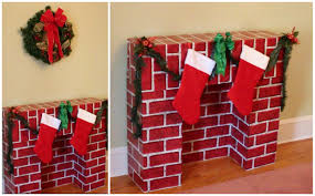 fireplace decorations to do youreself cardboard kit prop with light bulb for fire easy cardboard fireplace display fake