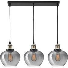 tamigo 80 black glass triple pendant lamp
