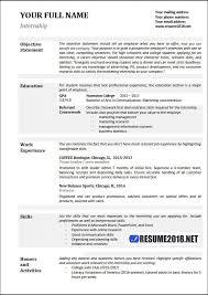 Resume Samples For Internships Resume Templates 2018 Resume Resumetemplates Templates Resume