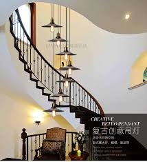 american rural double rotary staircase hanging pendant lights retro industrial wind stair lamp long in from u0026 lighting lights n19
