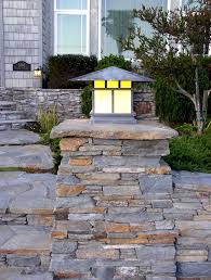 Pilaster Lights Stone Light Pilaster Custom Fabricated Arts And Crafts Sty