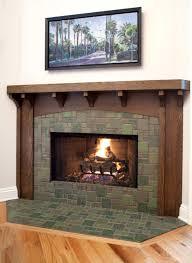 oak and tile fireplace craftsman living room by jwt associates
