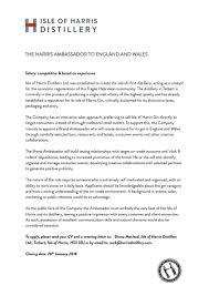 Ambassador Cv My Publications Isle Of Harris Distillery Brand Ambassador For