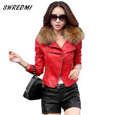 2018 whole leather jacket women 2017 spring real fur collar leather clothing outerwear jackets and coats las red leather coat motorcycle from douban
