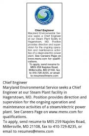 Chief Engineer Maryland Environmental Service Millersville Md