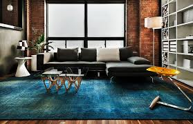 contemporary living space with rug in copper blue and plush sofa in dark gray from
