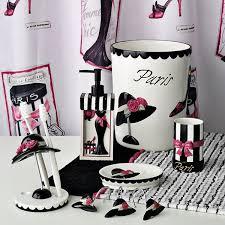 pink and black bathroom accessories. paris themed bathroom set | ideas http www roomzaar com rate my space pink and black accessories n