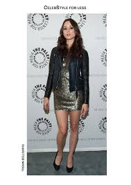 jacket celebstyle for less leather jacket gold sequins sequin dress black heels eyeliner make up party outfits troian bellisario dress shoes